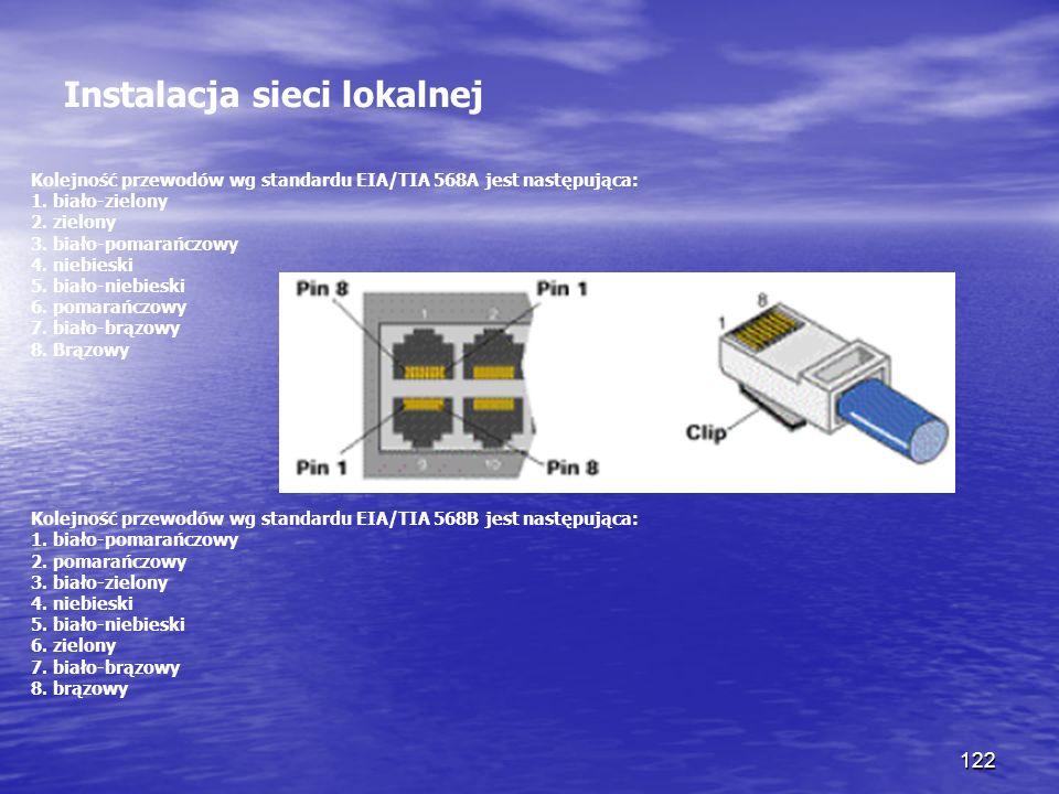 122 Instalacja sieci lokalnej Kolejność przewodów wg standardu EIA/TIA 568A jest następująca: 1. biało-zielony 2. zielony 3. biało-pomarańczowy 4. nie