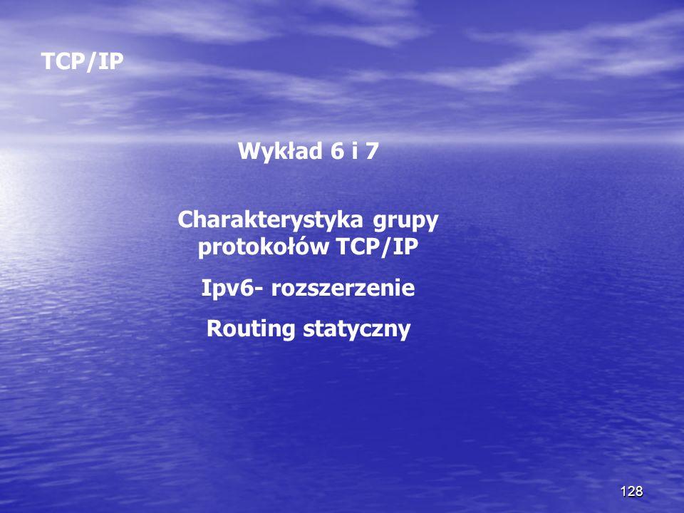 128 TCP/IP Wykład 6 i 7 Charakterystyka grupy protokołów TCP/IP Ipv6- rozszerzenie Routing statyczny