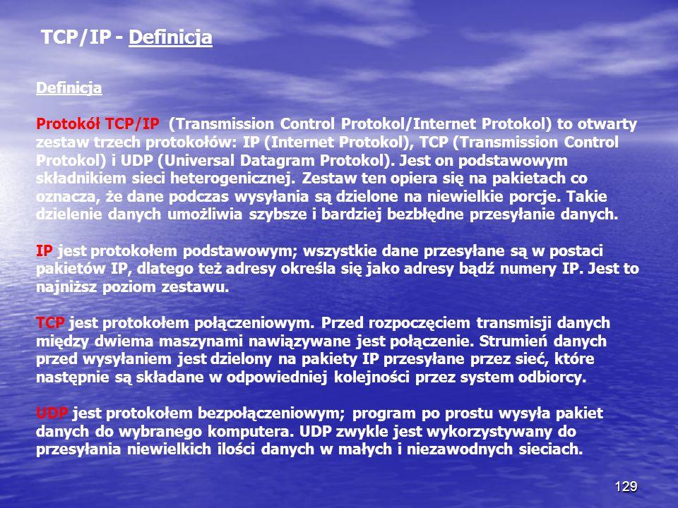 129 TCP/IP - Definicja Definicja Protokół TCP/IP (Transmission Control Protokol/Internet Protokol) to otwarty zestaw trzech protokołów: IP (Internet P