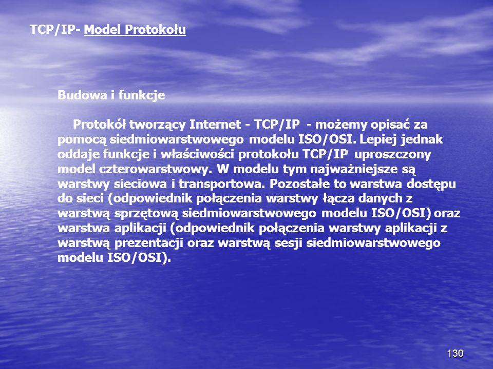 130 TCP/IP- Model Protokołu Budowa i funkcje Protokół tworzący Internet - TCP/IP - możemy opisać za pomocą siedmiowarstwowego modelu ISO/OSI. Lepiej j