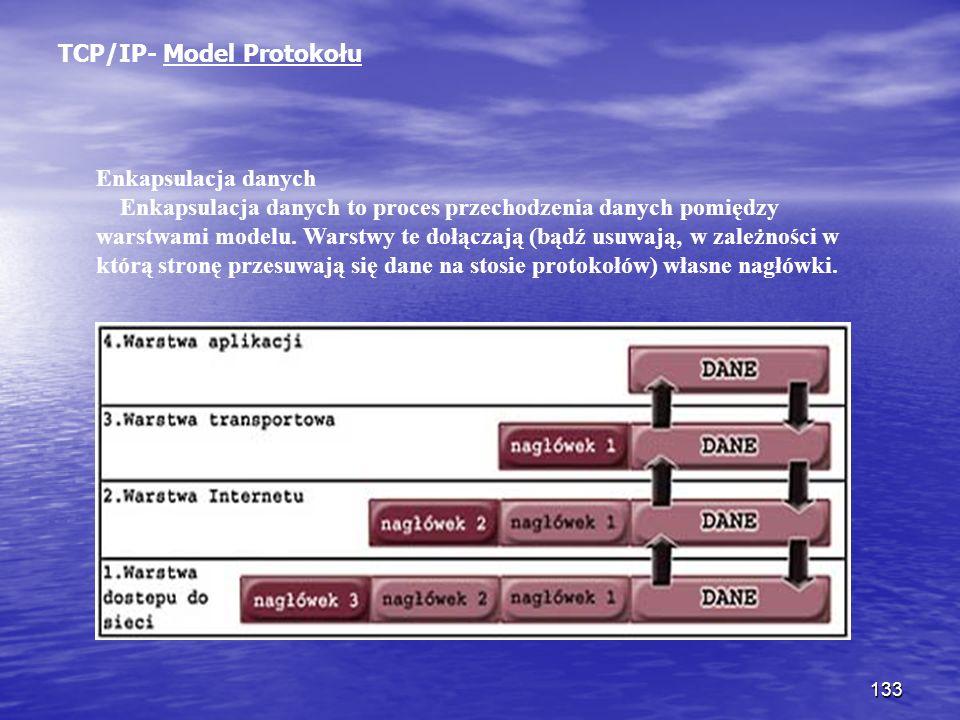 133 TCP/IP- Model Protokołu Enkapsulacja danych Enkapsulacja danych to proces przechodzenia danych pomiędzy warstwami modelu. Warstwy te dołączają (bą