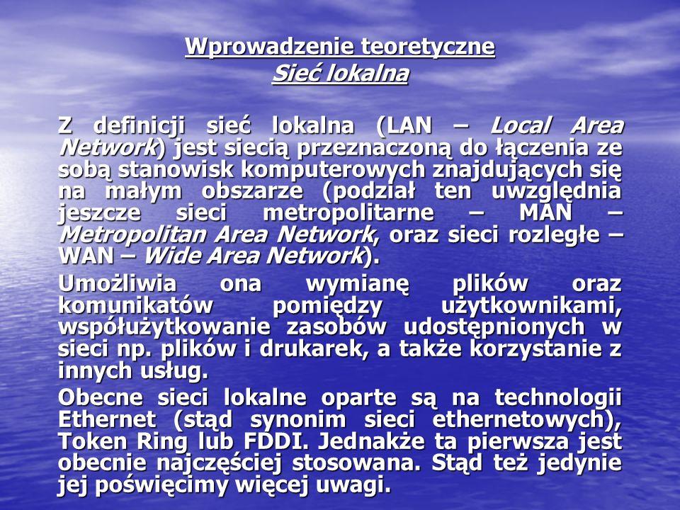 Wprowadzenie teoretyczne Sieć lokalna Z definicji sieć lokalna (LAN – Local Area Network) jest siecią przeznaczoną do łączenia ze sobą stanowisk kompu