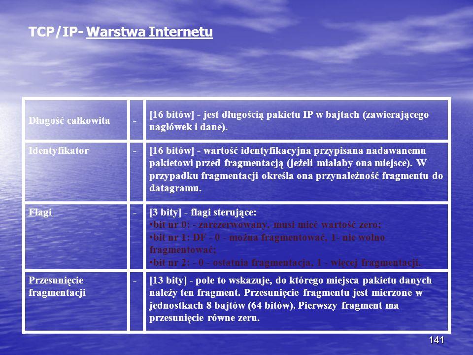 141 TCP/IP- Warstwa Internetu Długość całkowita- [16 bitów] - jest długością pakietu IP w bajtach (zawierającego nagłówek i dane). Identyfikator-[16 b