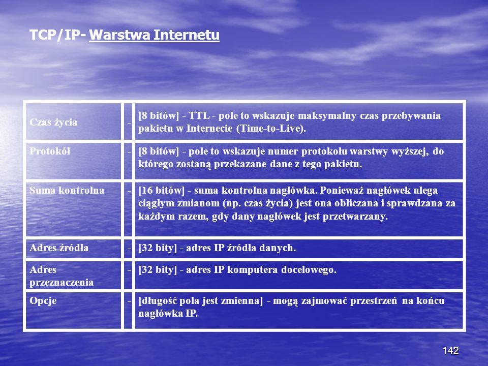 142 TCP/IP- Warstwa Internetu Czas życia- [8 bitów] - TTL - pole to wskazuje maksymalny czas przebywania pakietu w Internecie (Time-to-Live). Protokół