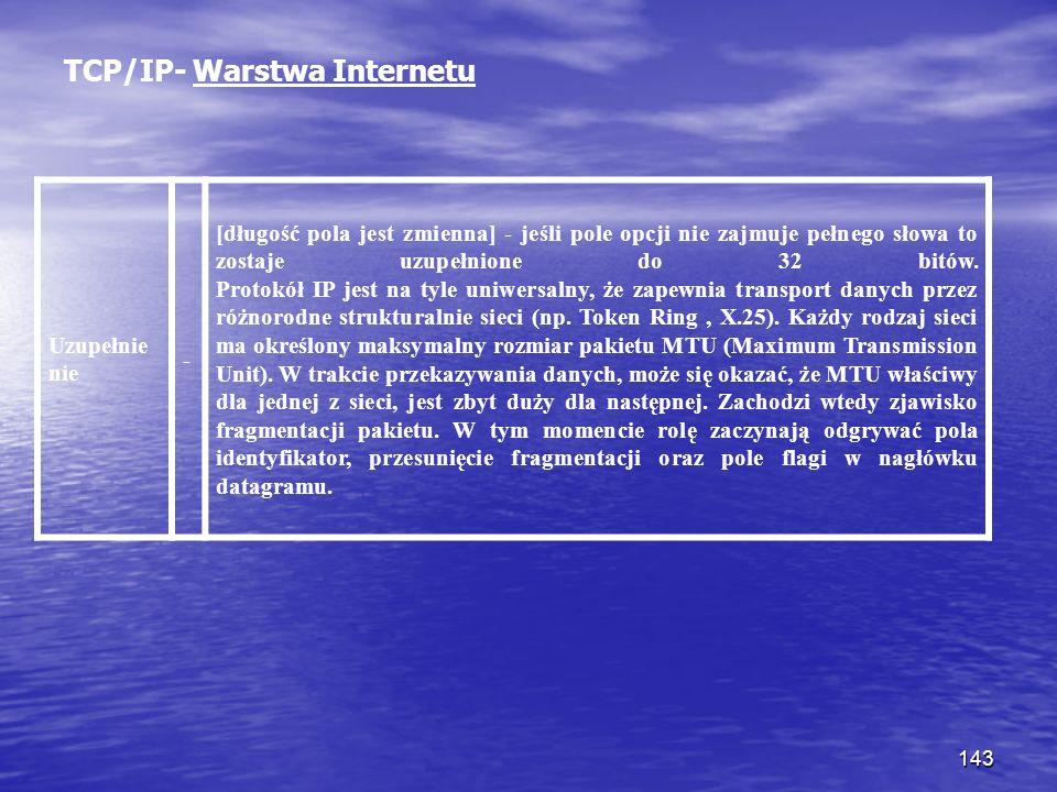 143 TCP/IP- Warstwa Internetu Uzupełnie nie - [długość pola jest zmienna] - jeśli pole opcji nie zajmuje pełnego słowa to zostaje uzupełnione do 32 bi