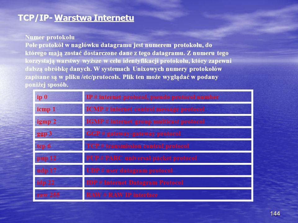 144 TCP/IP- Warstwa Internetu Numer protokołu Pole protokół w nagłówku datagramu jest numerem protokołu, do którego mają zostać dostarczone dane z teg
