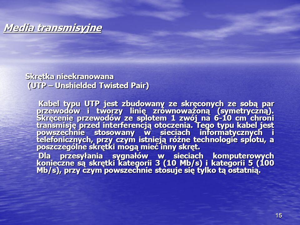15 Media transmisyjne Skrętka nieekranowana (UTP – Unshielded Twisted Pair) (UTP – Unshielded Twisted Pair) Kabel typu UTP jest zbudowany ze skręconyc