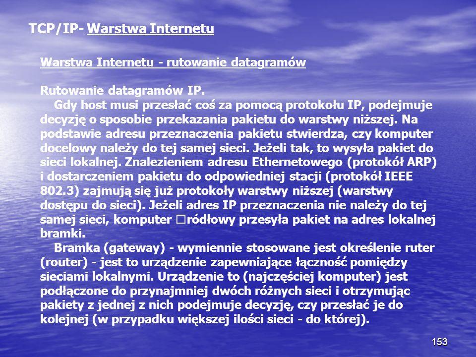 153 TCP/IP- Warstwa Internetu Warstwa Internetu - rutowanie datagramów Rutowanie datagramów IP. Gdy host musi przesłać coś za pomocą protokołu IP, pod
