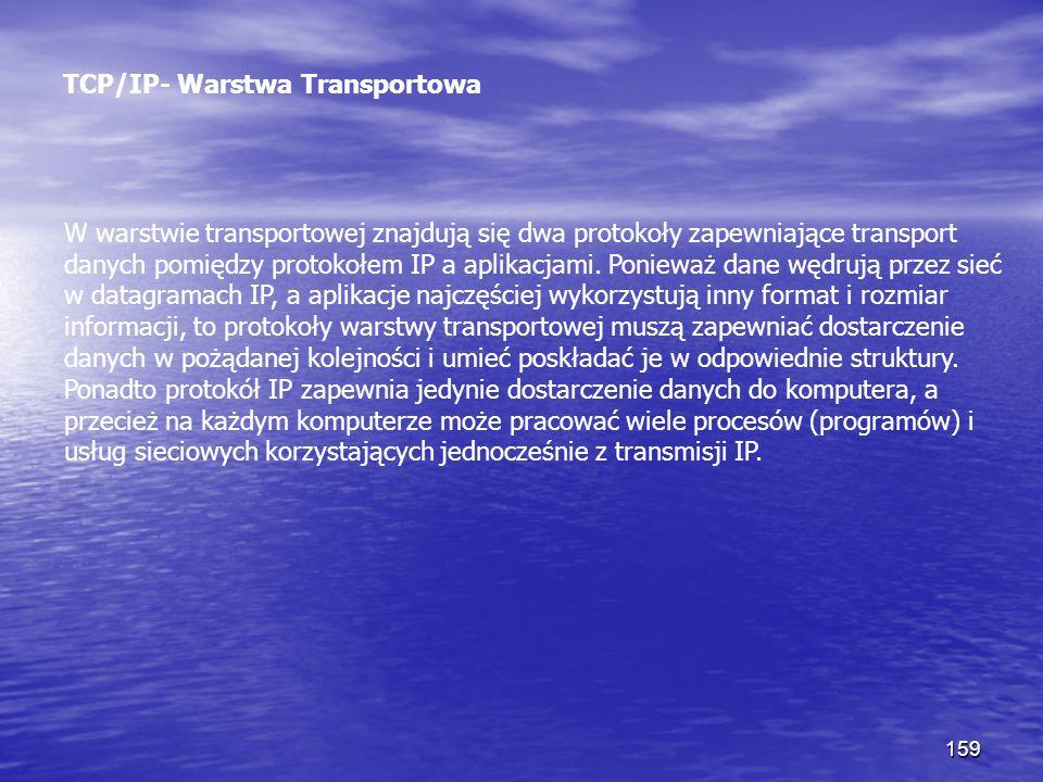 159 TCP/IP- Warstwa Transportowa W warstwie transportowej znajdują się dwa protokoły zapewniające transport danych pomiędzy protokołem IP a aplikacjam