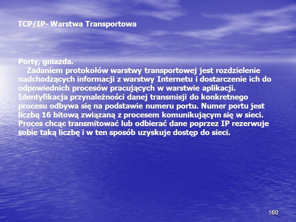 160 TCP/IP- Warstwa Transportowa Porty, gniazda. Zadaniem protokołów warstwy transportowej jest rozdzielenie nadchodzących informacji z warstwy Intern
