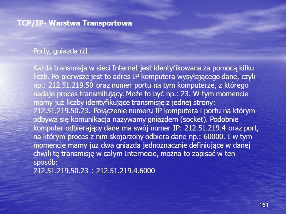 161 TCP/IP- Warstwa Transportowa Porty, gniazda cd. Każda transmisja w sieci Internet jest identyfikowana za pomocą kilku liczb. Po pierwsze jest to a