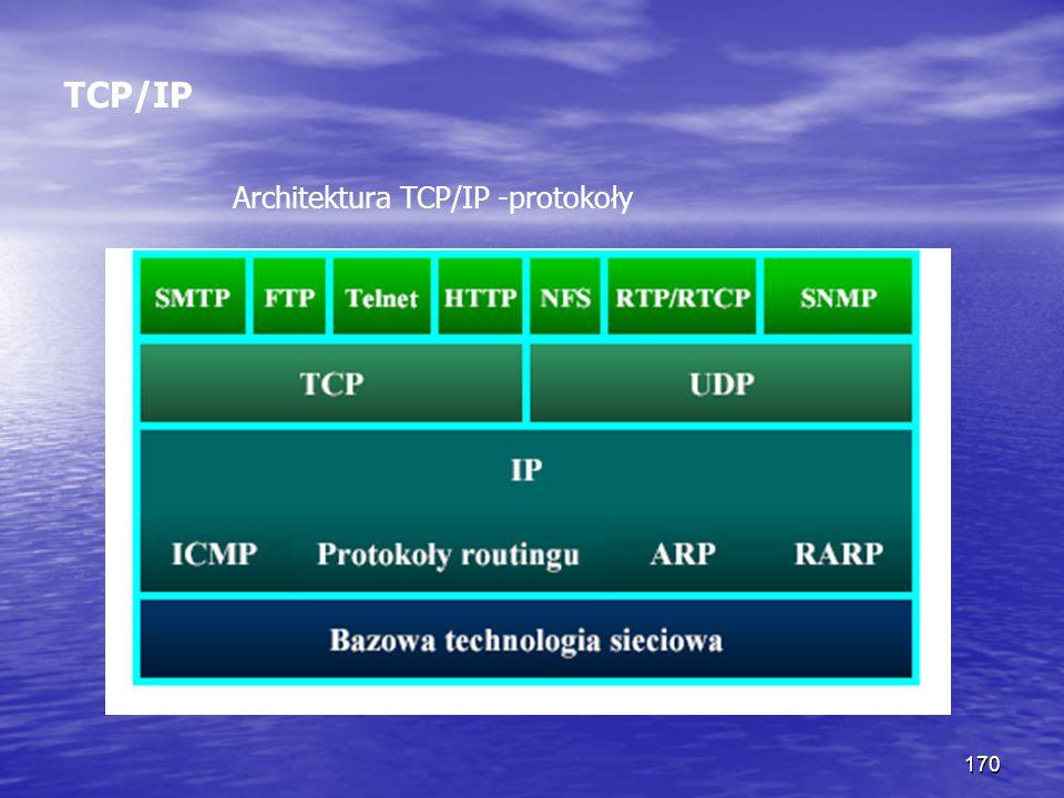 170 TCP/IP Architektura TCP/IP -protokoły
