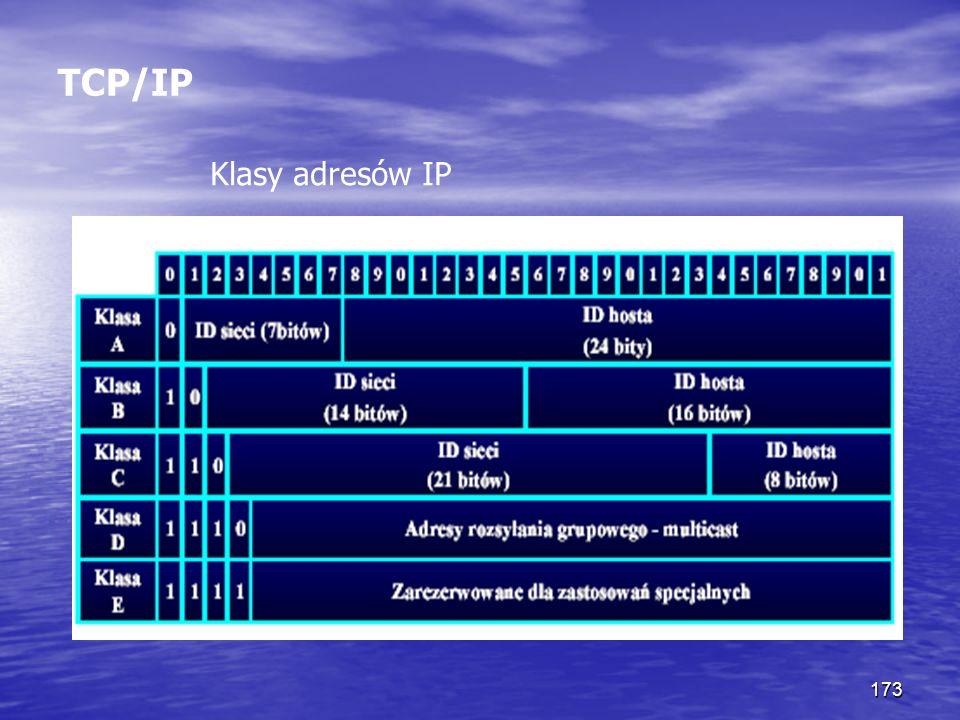 173 TCP/IP Klasy adresów IP