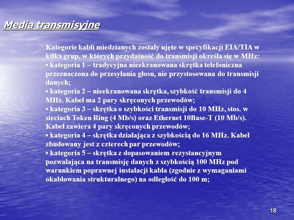 18 Media transmisyjne Kategorie kabli miedzianych zostały ujęte w specyfikacji EIA/TIA w kilka grup, w których przydatność do transmisji określa się w