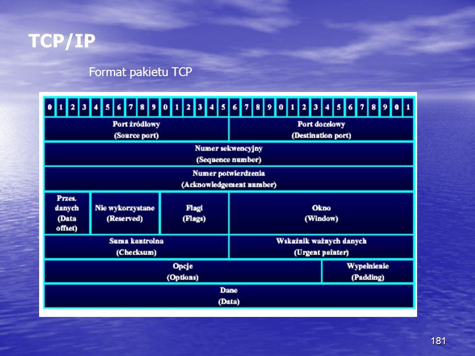 181 TCP/IP Format pakietu TCP