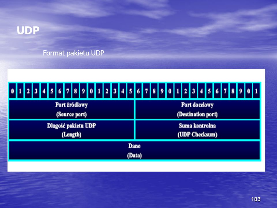 183 UDP Format pakietu UDP