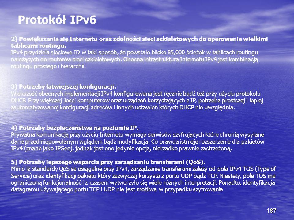 187 Protokół IPv6 2) Powiększania się Internetu oraz zdolności sieci szkieletowych do operowania wielkimi tablicami routingu. IPv4 przydziela sieciowe