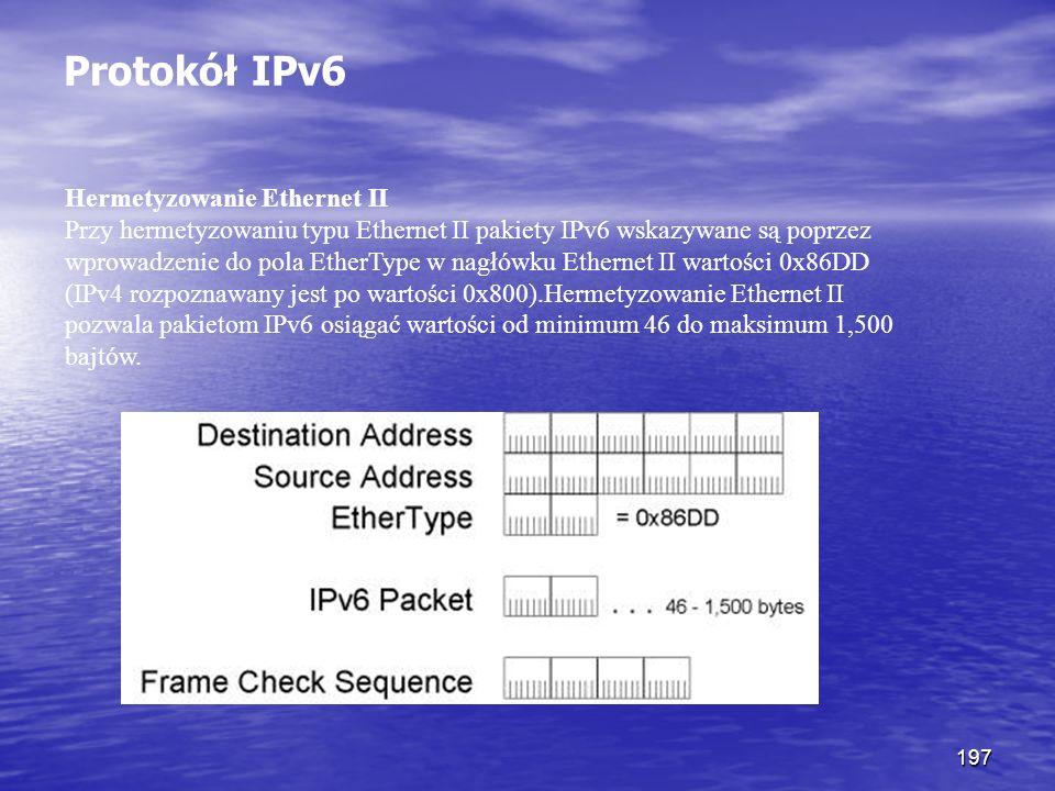197 Protokół IPv6 Hermetyzowanie Ethernet II Przy hermetyzowaniu typu Ethernet II pakiety IPv6 wskazywane są poprzez wprowadzenie do pola EtherType w