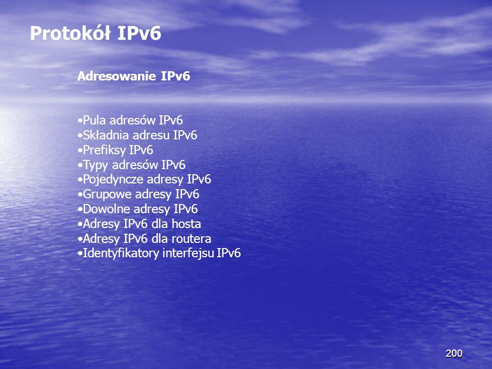 200 Protokół IPv6 Adresowanie IPv6 Pula adresów IPv6 Składnia adresu IPv6 Prefiksy IPv6 Typy adresów IPv6 Pojedyncze adresy IPv6 Grupowe adresy IPv6 D