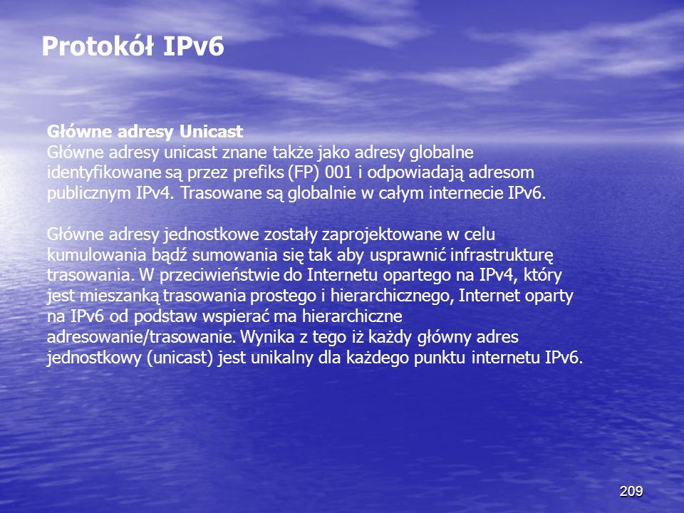 209 Protokół IPv6 Główne adresy Unicast Główne adresy unicast znane także jako adresy globalne identyfikowane są przez prefiks (FP) 001 i odpowiadają