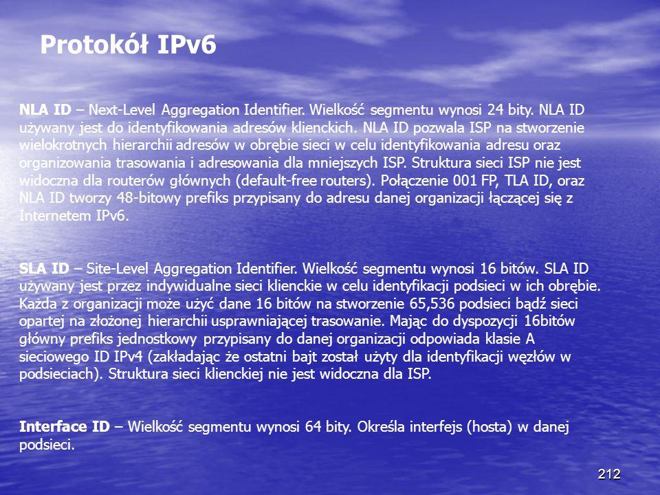 212 Protokół IPv6 NLA ID – Next-Level Aggregation Identifier. Wielkość segmentu wynosi 24 bity. NLA ID używany jest do identyfikowania adresów klienck