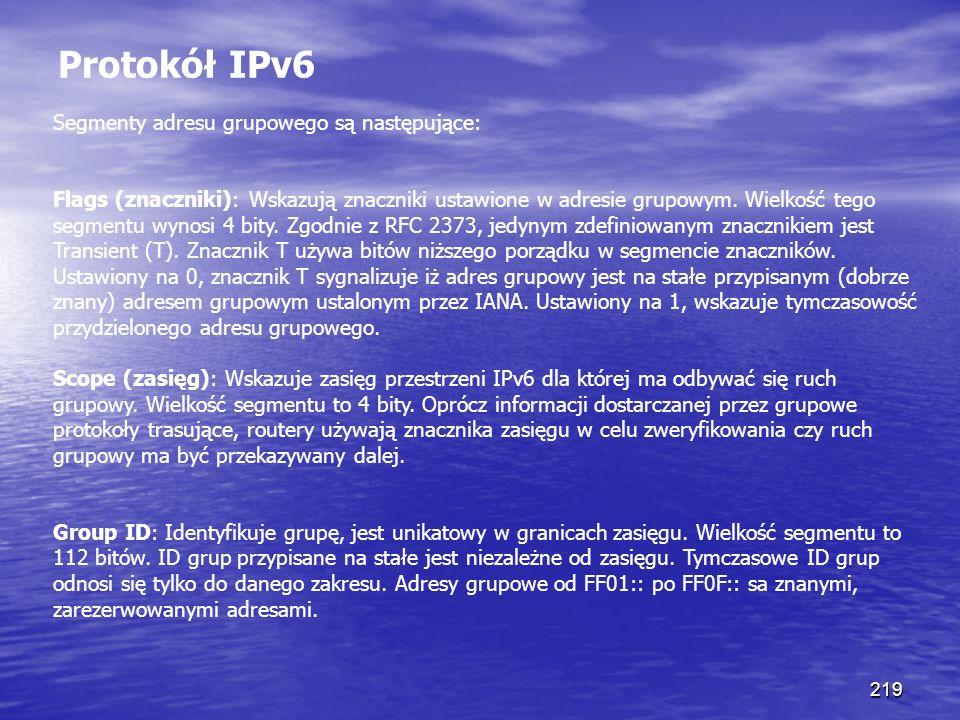 219 Protokół IPv6 Segmenty adresu grupowego są następujące: Flags (znaczniki): Wskazują znaczniki ustawione w adresie grupowym. Wielkość tego segmentu