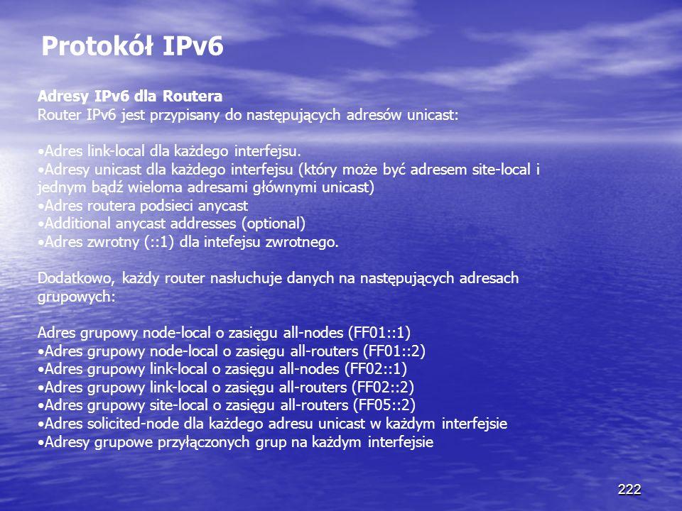 222 Protokół IPv6 Adresy IPv6 dla Routera Router IPv6 jest przypisany do następujących adresów unicast: Adres link-local dla każdego interfejsu. Adres