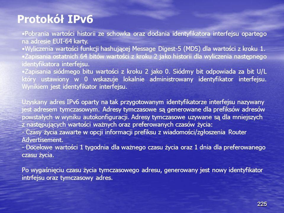225 Protokół IPv6 Pobrania wartości historii ze schowka oraz dodania identyfikatora interfejsu opartego na adresie EUI-64 karty. Wyliczenia wartości f