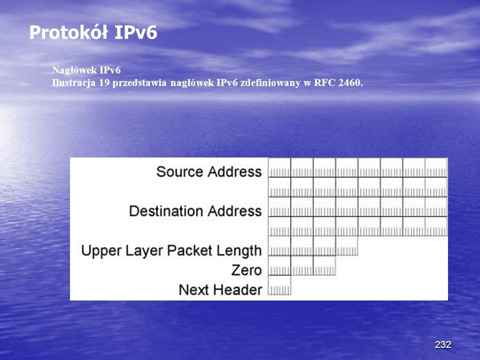 232 Protokół IPv6 Nagłówek IPv6 Ilustracja 19 przedstawia nagłówek IPv6 zdefiniowany w RFC 2460.