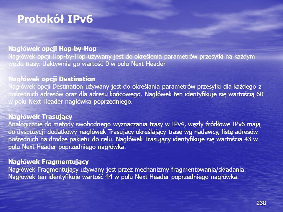 238 Protokół IPv6 Nagłówek opcji Hop-by-Hop Nagłówek opcji Hop-by-Hop używany jest do określenia parametrów przesyłki na każdym węźle trasy. Uaktywnia