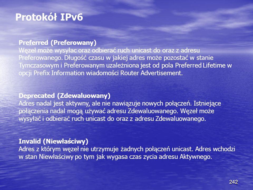 242 Protokół IPv6 Preferred (Preferowany) Węzeł może wysyłac oraz odbierać ruch unicast do oraz z adresu Preferowanego. Długość czasu w jakiej adres m