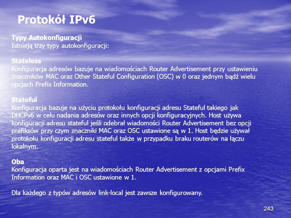 243 Protokół IPv6 Typy Autokonfiguracji Istnieją trzy typy autokonfiguracji: Stateless Konfiguracja adresów bazuje na wiadomościach Router Advertiseme
