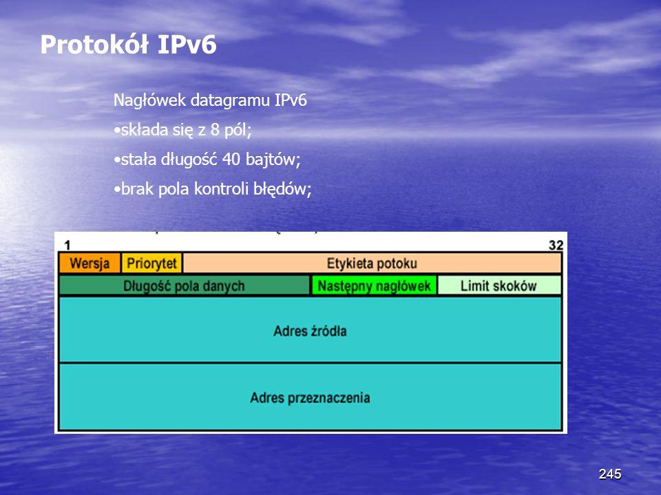 245 Protokół IPv6 Nagłówek datagramu IPv6 składa się z 8 pól; stała długość 40 bajtów; brak pola kontroli błędów;