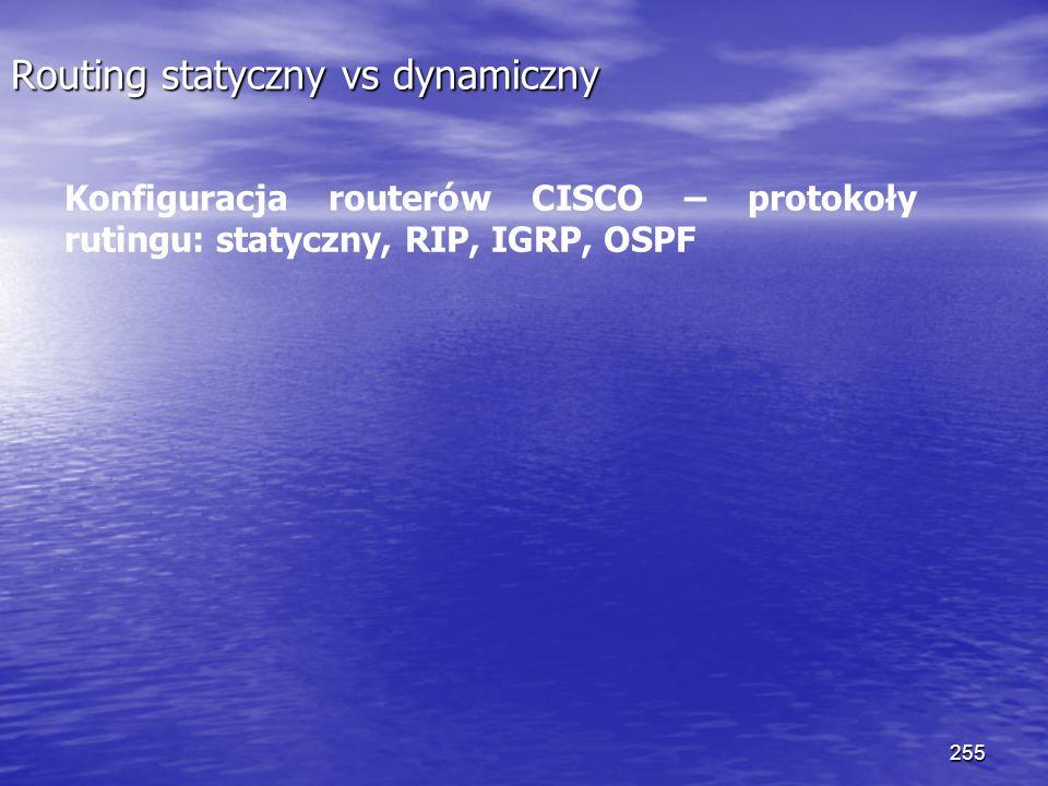 255 Routing statyczny vs dynamiczny Konfiguracja routerów CISCO – protokoły rutingu: statyczny, RIP, IGRP, OSPF