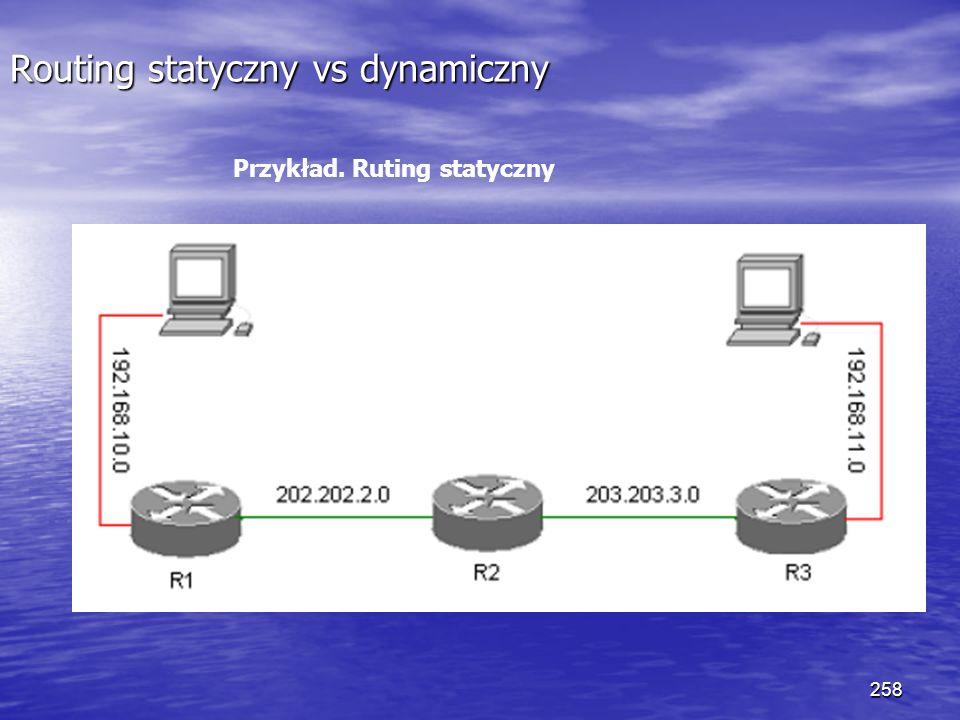 258 Routing statyczny vs dynamiczny Przykład. Ruting statyczny