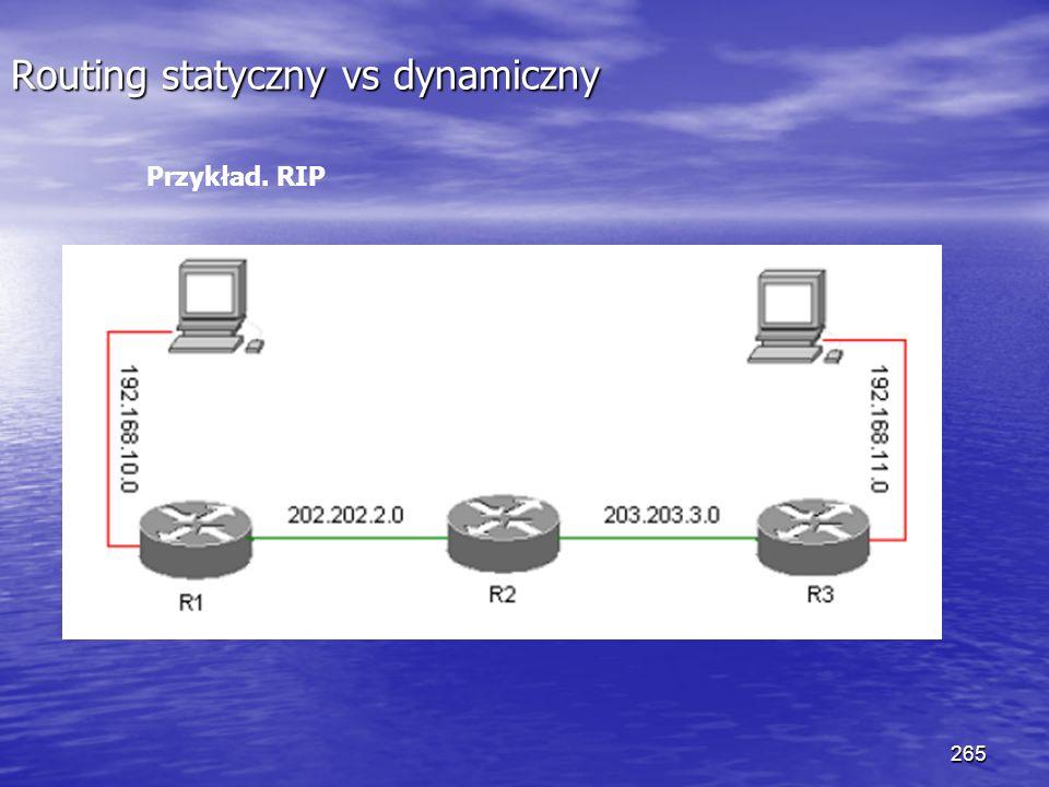 265 Routing statyczny vs dynamiczny Przykład. RIP
