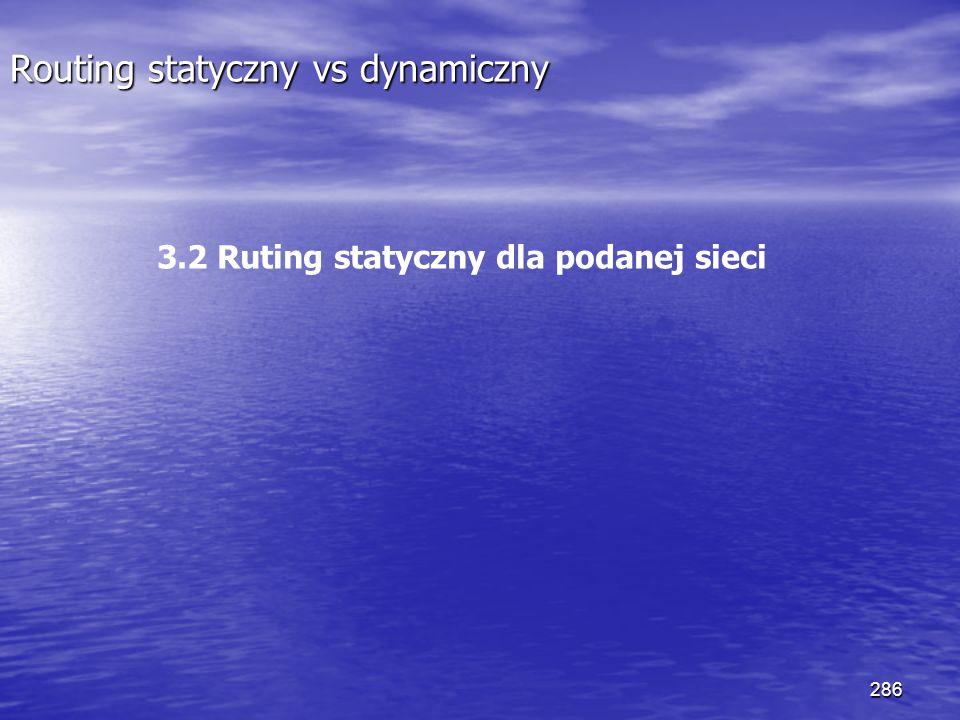 286 Routing statyczny vs dynamiczny 3.2 Ruting statyczny dla podanej sieci
