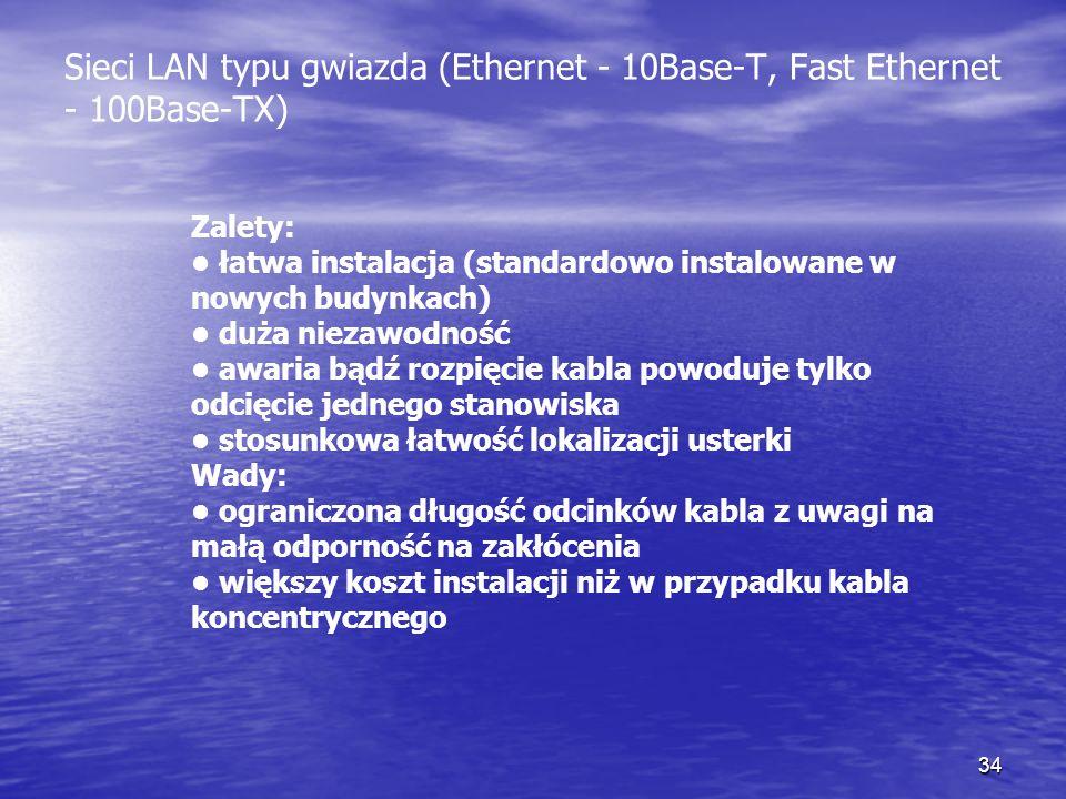 34 Zalety: łatwa instalacja (standardowo instalowane w nowych budynkach) duża niezawodność awaria bądź rozpięcie kabla powoduje tylko odcięcie jednego