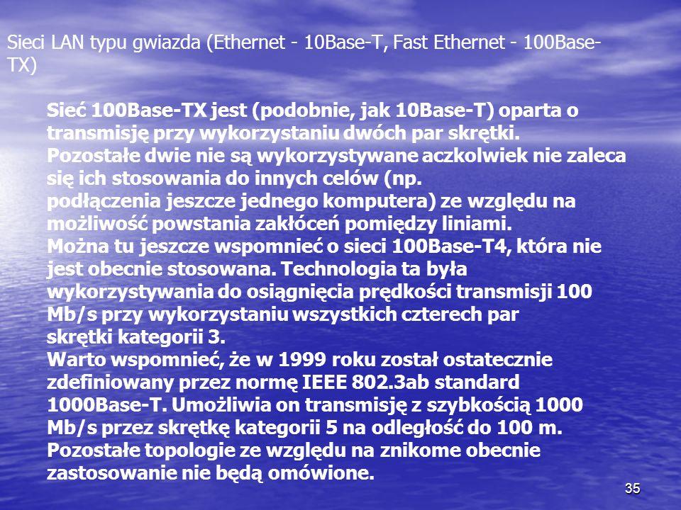 35 Sieci LAN typu gwiazda (Ethernet - 10Base-T, Fast Ethernet - 100Base- TX) Sieć 100Base-TX jest (podobnie, jak 10Base-T) oparta o transmisję przy wy
