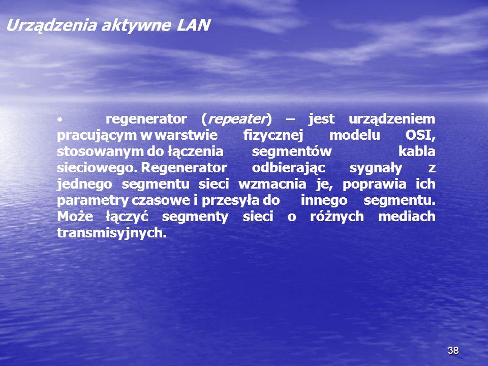 38 Urządzenia aktywne LAN regenerator (repeater) – jest urządzeniem pracującym wwarstwie fizycznej modelu OSI, stosowanym do łączenia segmentów kabla
