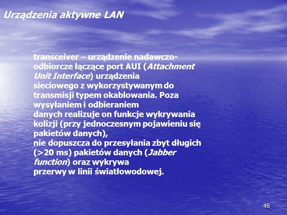 45 Urządzenia aktywne LAN transceiver – urządzenie nadawczo- odbiorcze łączące port AUI (Attachment Unit Interface) urządzenia sieciowego z wykorzysty