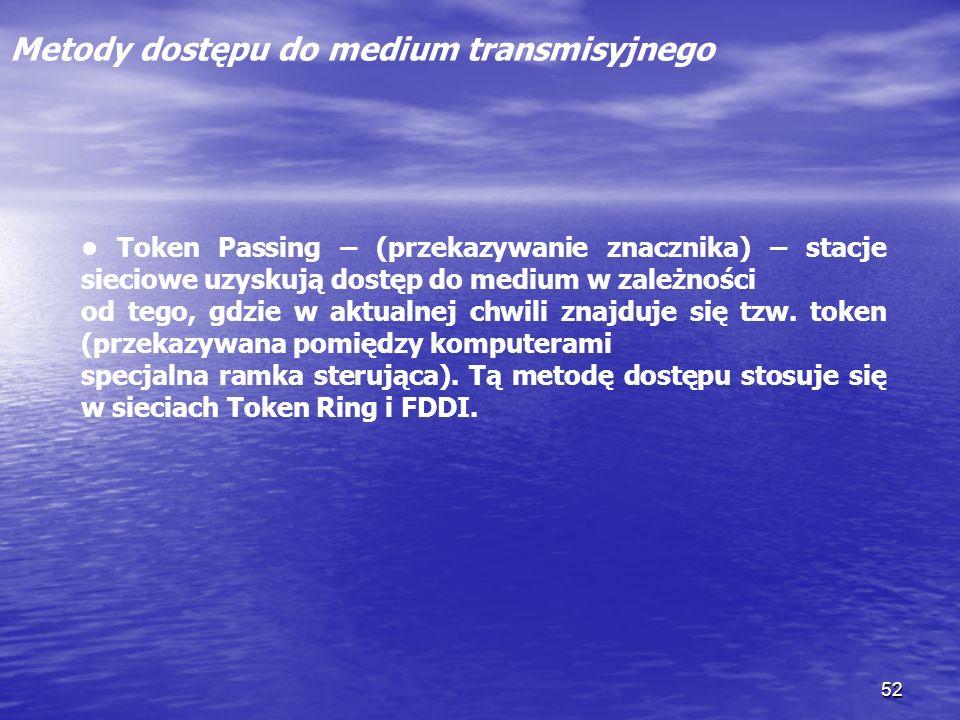 52 Metody dostępu do medium transmisyjnego Token Passing – (przekazywanie znacznika) – stacje sieciowe uzyskują dostęp do medium w zależności od tego,