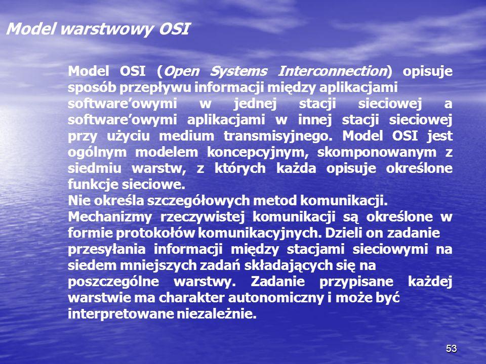 53 Model warstwowy OSI Model OSI (Open Systems Interconnection) opisuje sposób przepływu informacji między aplikacjami softwareowymi w jednej stacji s