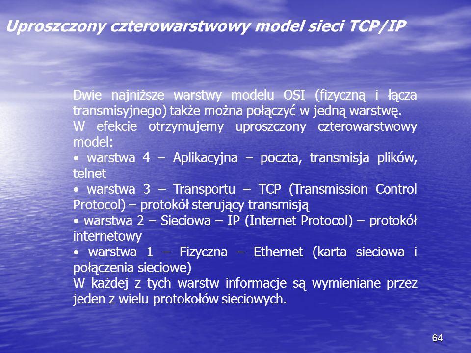64 Uproszczony czterowarstwowy model sieci TCP/IP Dwie najniższe warstwy modelu OSI (fizyczną i łącza transmisyjnego) także można połączyć w jedną war