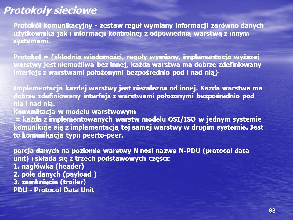 68 Protokoły sieciowe Protokół komunikacyjny - zestaw reguł wymiany informacji zarówno danych użytkownika jak i informacji kontrolnej z odpowiednią wa