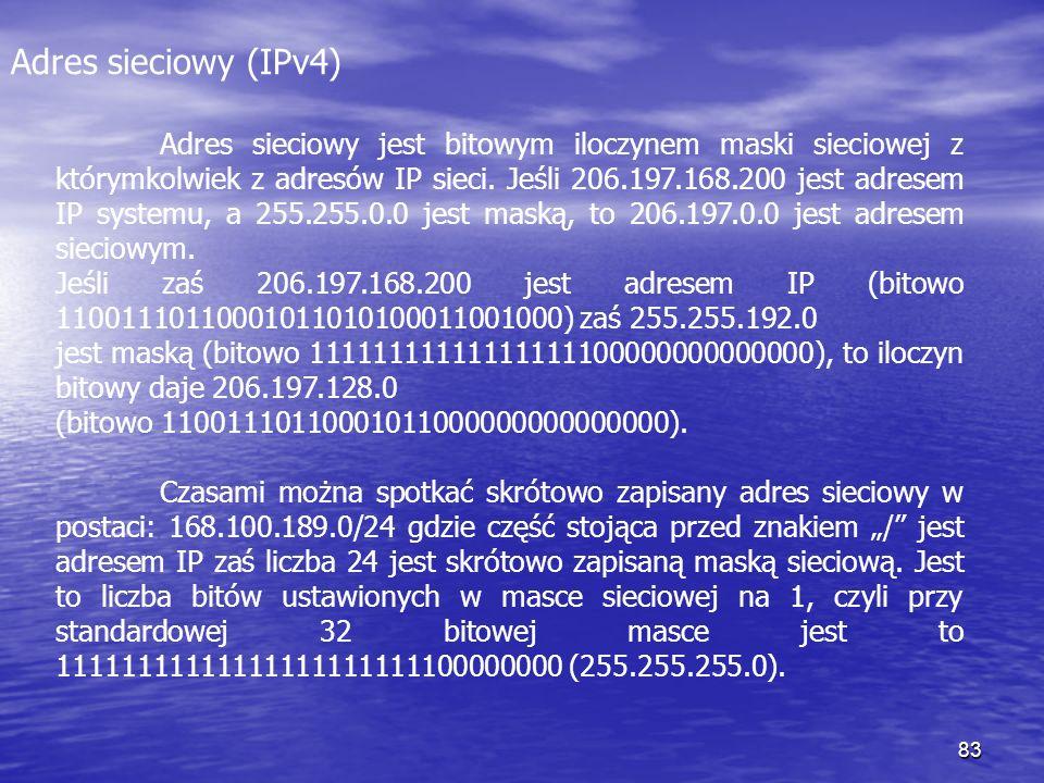 83 Adres sieciowy (IPv4) Adres sieciowy jest bitowym iloczynem maski sieciowej z którymkolwiek z adresów IP sieci. Jeśli 206.197.168.200 jest adresem