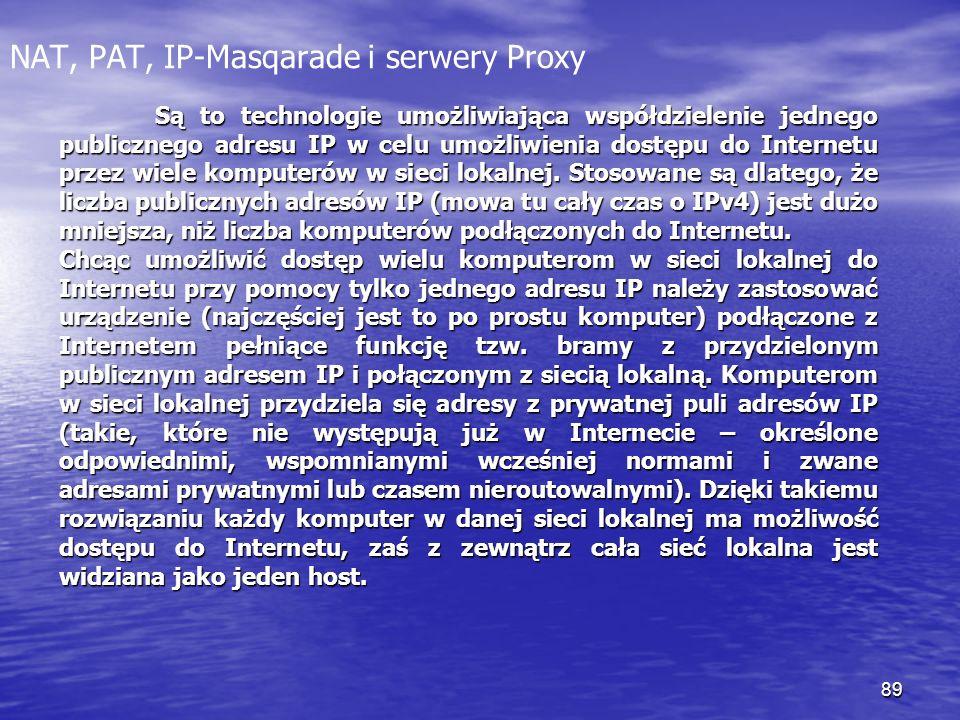 89 NAT, PAT, IP-Masqarade i serwery Proxy Są to technologie umożliwiająca współdzielenie jednego publicznego adresu IP w celu umożliwienia dostępu do