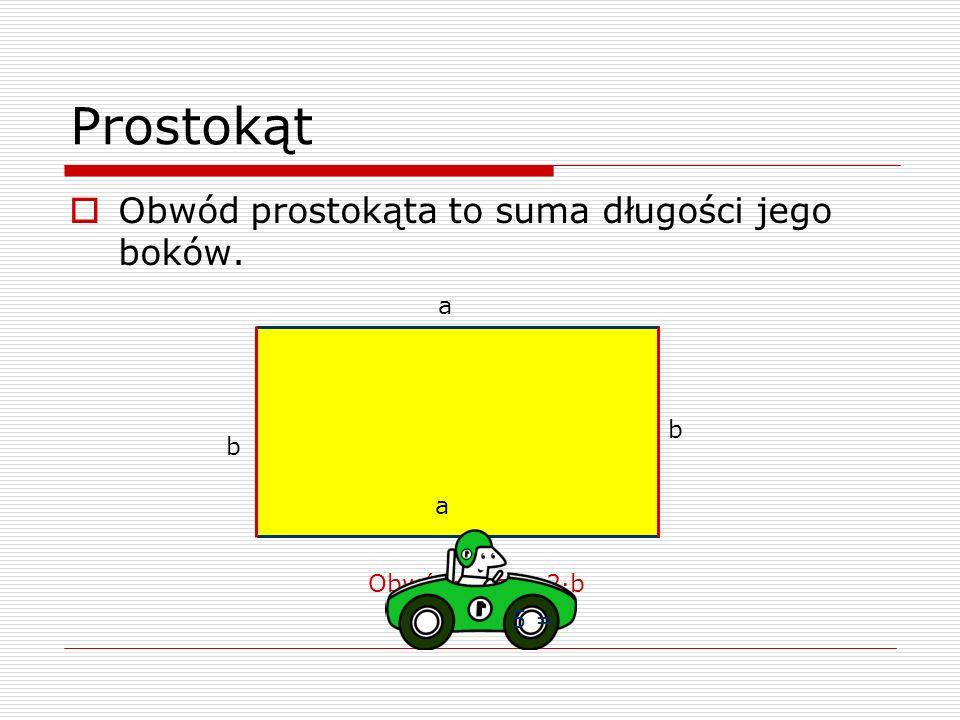 Prostokąt Obwód prostokąta to suma długości jego boków. b a Obwód=2·a + 2·b a b 5 =