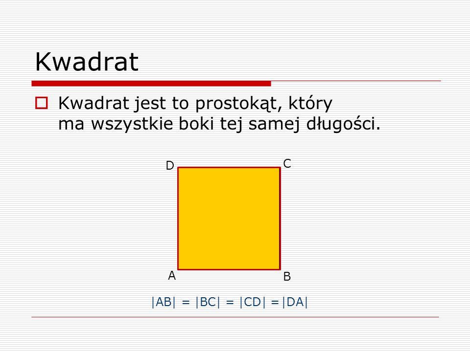 Kwadrat Kwadrat jest to prostokąt, który ma wszystkie boki tej samej długości. A B C D |AB| = |BC| = |CD| = |DA|