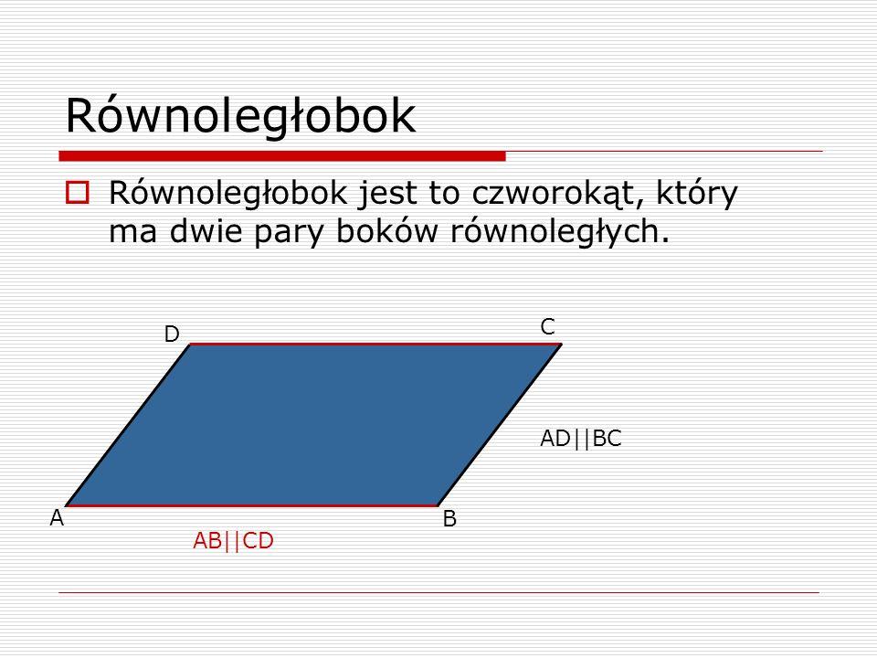 Równoległobok Równoległobok jest to czworokąt, który ma dwie pary boków równoległych. A B C D AB||CD AD||BC